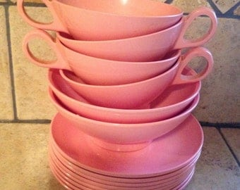15 Piece Set of Rosy Pink Dishes by Melmac