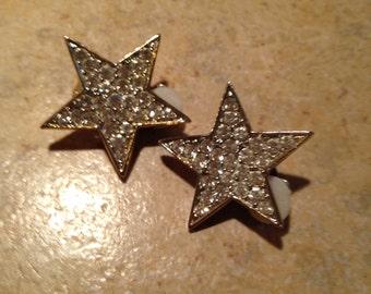 Goldtone Sparkly Rhinestone Star Earrings