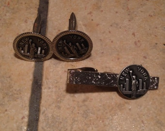 New York Cuff Link and Tie Clip Set