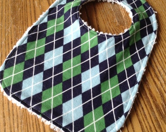 Flannel and Chenille Baby Bib, Snap Closure, Navy and Green Argyle