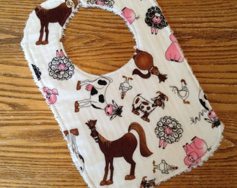 Chenille and Flannel Baby Bib,  Silly  Farm Animals,  snap close, ready to ship