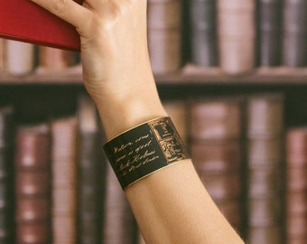 Sherlock Holmes Quote Jewelry - Come Watson, The Game Is Afoot - Steampunk Brass Cuff Bracelet - Geeky Cool Gifts