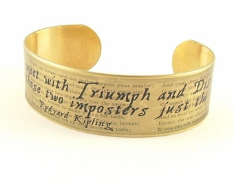 Triumph and Disaster Literary Quote Cuff - Rudyard Kipling IF Bracelet - Inspirational Gift - Best Friend Gift Ideas