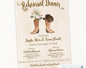 Cowboy Boot Rustic Rehearsal Dinner Invitation, Country, Western, Cowboy, Cowgirl, Printable or Printed