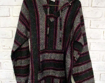 Vintage Hand Woven Shirt Long Sleeves Hooded Baja Hoodie with Wood Drawstring Hood Small