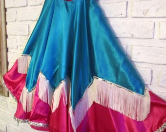 Vintage Satin Western Swing Circle Skirt with Fringe and Sequin Trim Rockabilly Cowgirl Rodeo Clothing Small Girls Petite