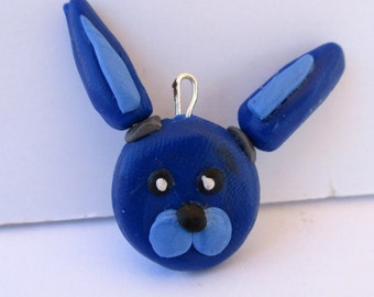 Clay Bonnie FNAF Pendant Sculpture Charm Hand Sculpted Five Nights at Freddy Inspired Miniature Figurine