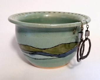 Turquoise Earring Bowl with Shoreline Waves Design in Blue Pottery