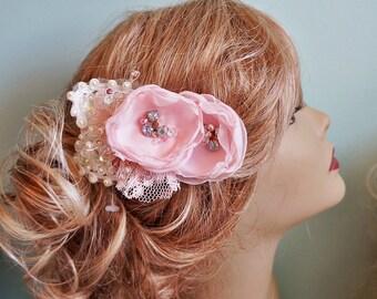 Blush Pink Cream Lace Hair Flower Fascinator