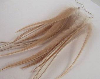Long Feather Earrings natural taupe and gray