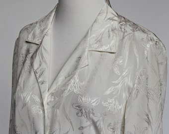 SALE - 70's Polyester Blouse / Floral Pattern / White on White Blouse / Button Front / Small