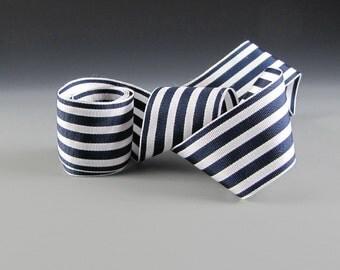 """1.5"""" WEDDING NAVY WHITE Ribbon Narrow Stripe Wholesale"""