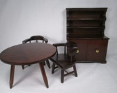Halls Lifetime Toys - Dining Room Table - 2 Captains Chairs - Hutch - Mountain Cherry