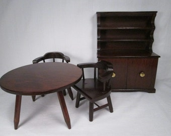 On Sale! Halls Lifetime Toys - Dining Room Table - 2 Captains Chairs - Hutch - Mountain Cherry
