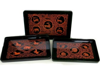 Lacquer Trays Set of 3 Graduated Nesting Sizes Vintage 1950s 60s Horse Gazelle Elephant Graphics