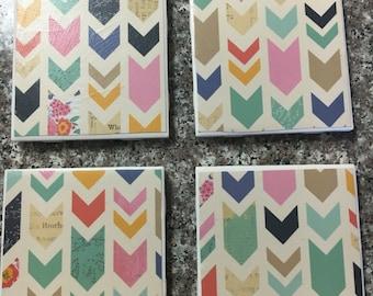 Chevron pattern coasters