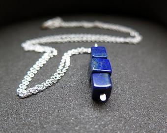 lapis necklace. lapis lazuli pendant. blue stone jewelry.
