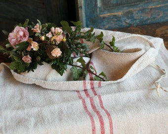 Nr. A473 : grain sack,  antique linen, FADED RED;  pillow benchcushion;  wedding decoration; christmas, thanksgiving; gift bag