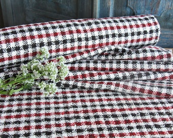 R 196  antique handloomed lin BLACK WHITE RED 6.55yards by 23.62inches ; upholstery fabric wool and lin cushion pillow