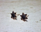 Black Hexagram Stud Earrings, 6 Pointed Star Earrings