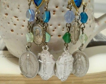 Rosary necklace medals and chain reclaimed into earrings - Religious - One of a Kind - bycat