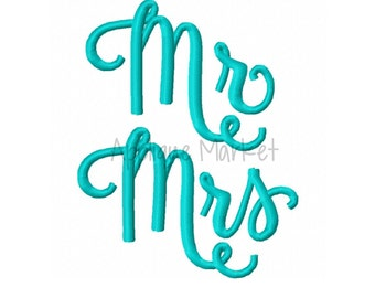 Machine Embroidery Design Applique Mr and Mrs Embroidery INSTANT DOWNLOAD