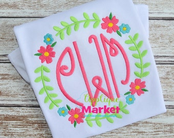 Machine Embroidery Design Embroidery Circle Flower Wreath INSTANT DOWNLOAD