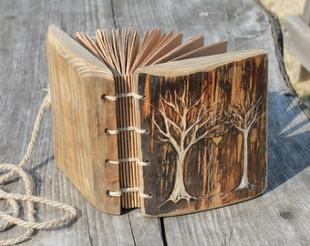 Wedding Guest Book wood custom rustic journal with double tree of life wooden guestbook bridal shower engagement anniversary