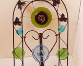 Window Art Stained Glass Art Suncatcher, Wrought Iron Works Arch