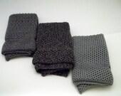 Dishcloths Knit in Cotton in EB Coal Marl, Charcoal/Grey/Angel and Angel, Knit Dishcloth, Knit Washcloth, Wash Cloth, Dish Cloth, Kitchen