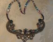 Vintage Art Nouveau Bohemian Necklace - Unusual One Of A Kind Antique Necklace.  REDuCED