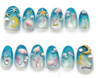 Mermaid, Japanese nail, 3D nails, seahorse, starfish, kawaii nails, blue nail, deco nails, sea, marine, nautical, alternative,