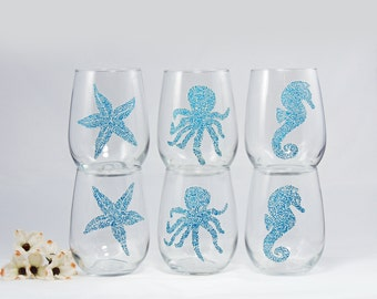 Beach theme stemless wine glasses - Set of 6 hand painted glasses - Sea Glass Collection