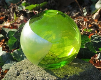 "Lime & Silver Sphere Vase, 5.5"" Blown Glass Art Vase, Transparent Chartreuse with Pure Silver Leaf, By Avalon Glassworks"