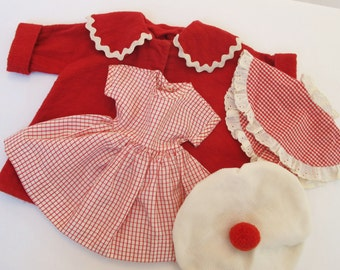 Vintage Doll Clothes 1950s Red Coat Dress Collar Shawl Hat Toboggan Rayon Flannel Cotton Fabric Mid Century Toys Dolls