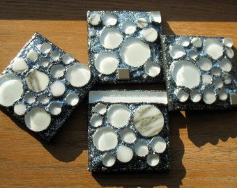 Circle Coasters in Stone, Marble and Glass (Set of 4)