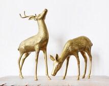 vintage brass deer figurines, large brass deers