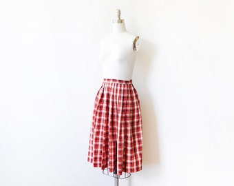 60s red plaid skirt, vintage plaid pleated skirt, red and black plaid cotton skirt, xs extra small