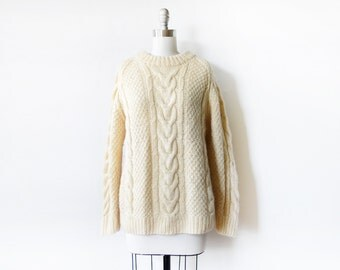cable knit sweater, vintage fisherman's sweater, xl cream wool knit sweater