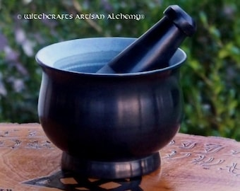 WITCHING HOUR Black Soapstone Mortar & Pestle - Crafting Herb Spice Incense Grinding Preparation Tool, Kitchen Witchery, Witchcraft