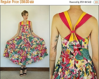 SUMMER SALE Vintage 80's does 50's Floral Pinup Cotton Flared Flowy Criss cross Boho Preppy Midi dress S M
