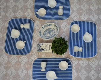 Vintage Blue and White Breakfast Set For Four/Striped Canvas Placemats/8 Corelle Cups and Bowls/Pottery Bowl, Canister Vase, 4 Egg Cups
