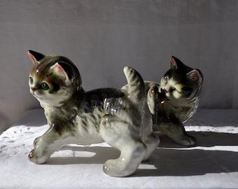 Three Playful Porcelain Kittens/Vintage 1960s/China Cat Figurines/Kasuga Ware