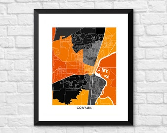 Corvallis Map Print.  Choose your Colors and Size.  Oregon State University Beavers Wall Art Poster.