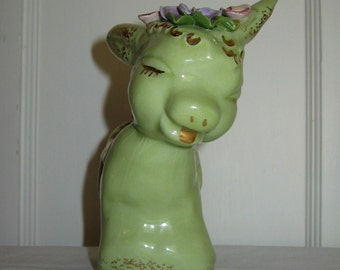 Donkey Planter in Green with Flowers, Flora