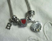 Silver Charm Bracelet BE MY LOVE Hearts & Letters