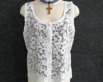 Vintage White Lace Blouse Sheer Overblouse, 70s 80s, Deep Scoop Neck, Sleeveless, Front Button, Romantic Peasant Boho Chic Bust 34 35