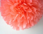 CORAL / 1 tissue paper pom pom / wedding decorations / diy / birthday party decor / coral decorations / pompoms / parisian / salmon pink