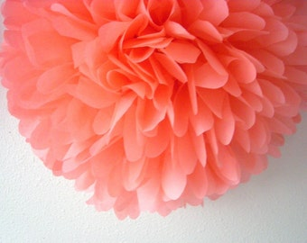 CORAL tissue paper pom poms / french paris theme wedding decor / parisian birthday party decoration / coral decorations pompoms salmon pink