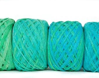 Summer yarn, Raw Bamboo Yarn, Hand Dyed 200 gram / 7 oz, Vegan